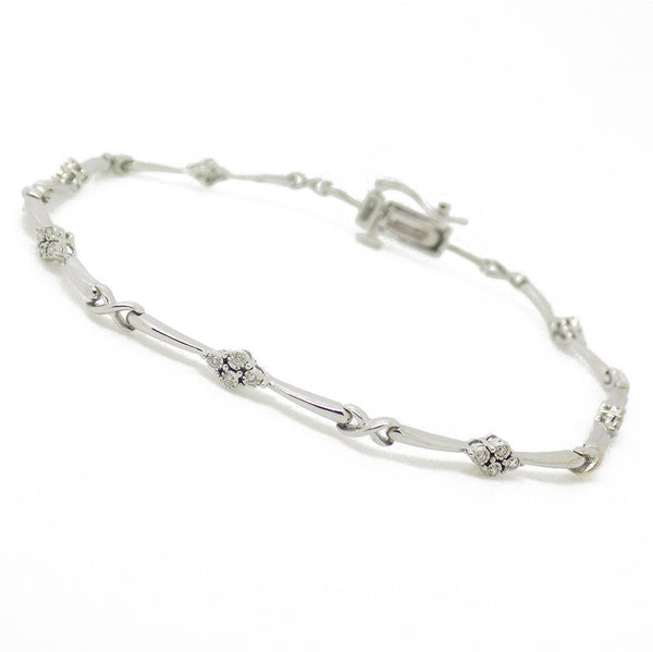 9ct White Gold Diamond Stone Set Tennis Bracelet