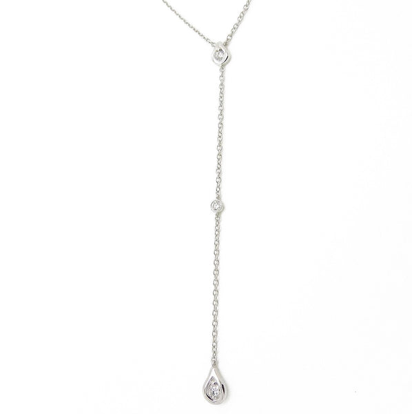 18ct White Gold & Diamond Lariat Pendant Necklace Detail