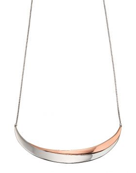 'Fiorelli' Sterling Silver and Rose Gold Plated Double Curved Bar Necklace