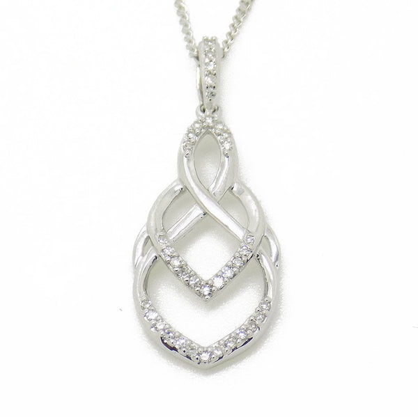 9ct White Gold & Diamond Lattice Drop Pendant