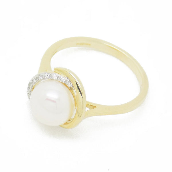 9ct Yellow Gold Freshwater Pearl & Diamond Ring Front Detail