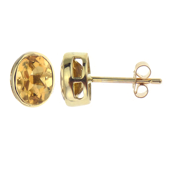 9ct Yellow Gold Oval Cut Citrine Stud Earrings