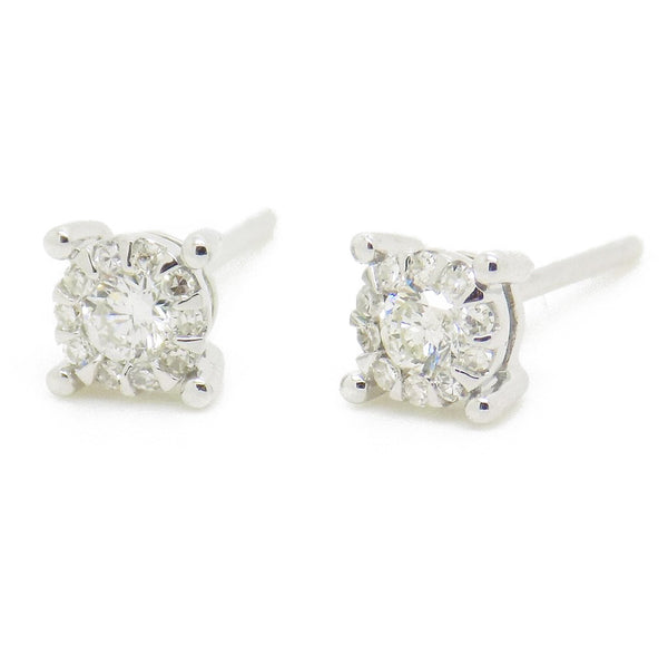 9ct White Gold Four Claw Diamond Cluster Earrings