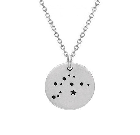Aquarius Constellation Necklace Sterling Silver Zodiac Necklace with Chain