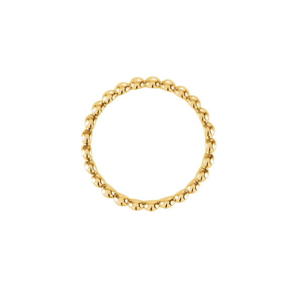 BEADED STACKABLE RING 14K YELLOW GOLD