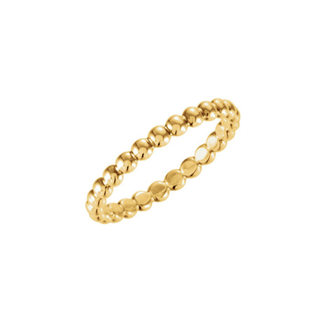 Gold RIng Stackable Band 14k Yellow GOld Beaded Ring