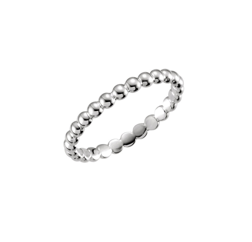 Beaded Ring White Gold Stacking Ring 14k White Gold RIng Band