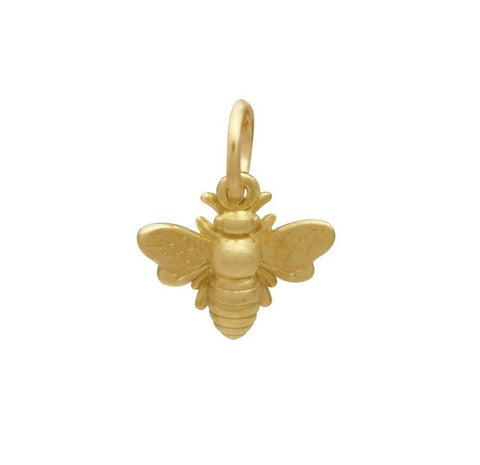 Gold Bee Charm 14K Yellow Gold Honey Bee Honebee Charms
