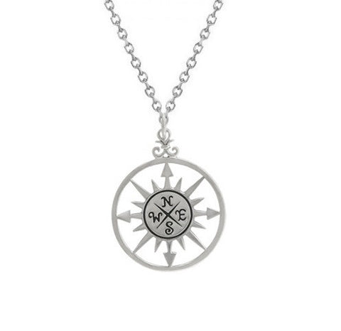 Compass Necklace Sterling Silver Compass Rose Necklace
