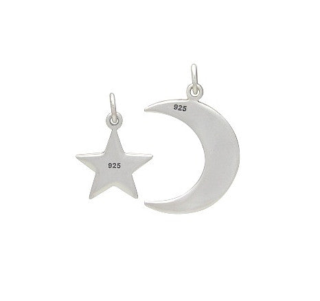 LOVE YOU TO THE MOON AND BACK CHARMS STERLING SILVER SET OF 2 CHARMS
