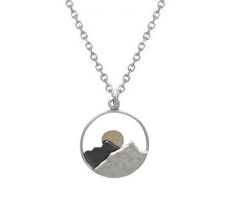 MOUNTAIN RANGE WITH SUN NECKLACE STERLING SILVER & BRONZE