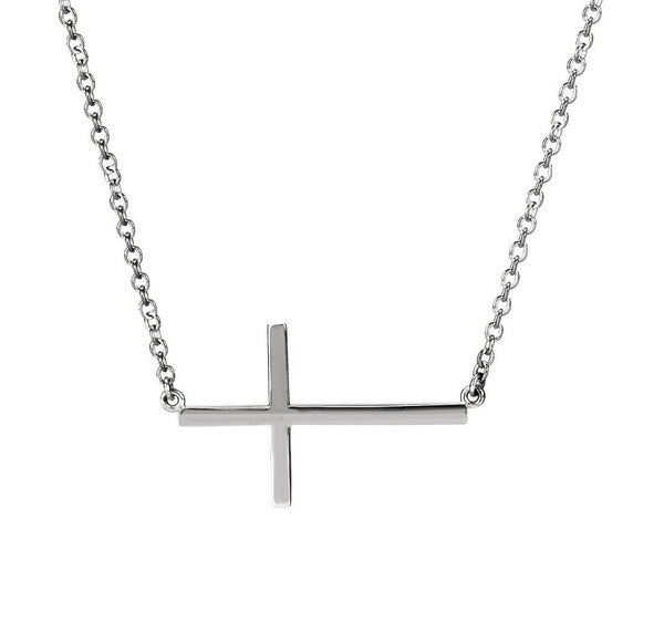 SIDEWAYS CROSS NECKLACE STERLING SILVER