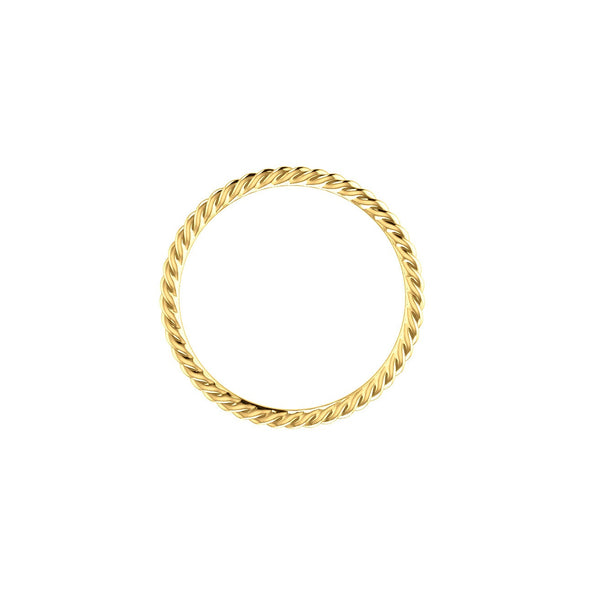 SKINNY STACKABLE ROPE RING BAND 14K YELLOW GOLD