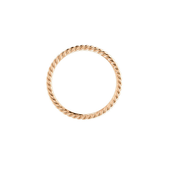 SKINNY STACKABLE ROPE RING BAND 14K ROSE GOLD
