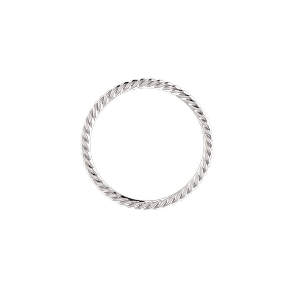 SKINNY ROPE RING STACKABLE BAND 14K WHITE GOLD