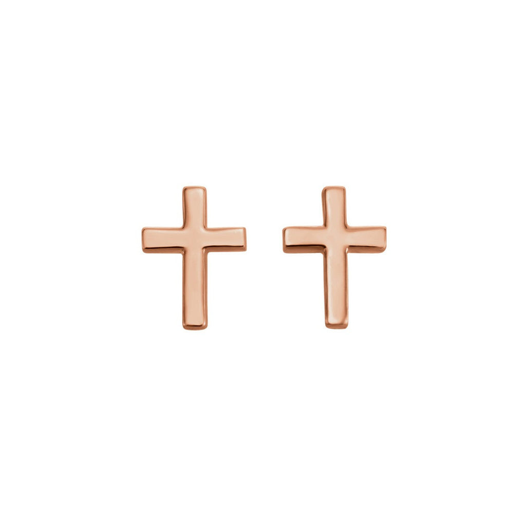SMALL CROSS STUD EARRINGS 14K ROSE GOLD