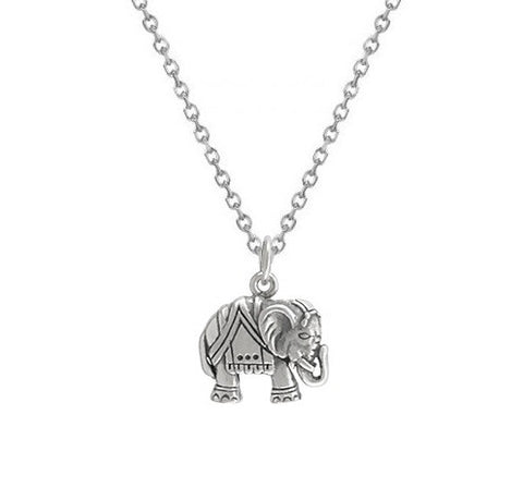 Elephant Necklace Sterling Silver, Elephant Charm Necklace, Animal Necklace, Good Luck Necklace