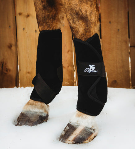 Horse boots that FIT: Revolutionary Pegasus Airboots  in solid black. The best equine support boots in the world.