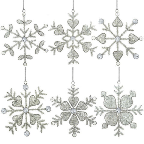 Christmas Ornaments Snowflake Decor Party Anniversary 6 Inch Set of 6