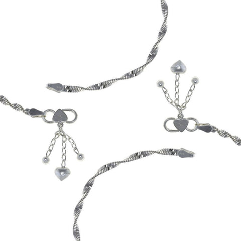 925 hallmarked sterling Silver anklets Lobster clasper chain Indian 10 inches