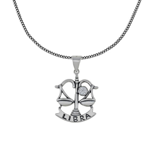 Zodiac Sign Libra Pendant Chain Necklace Sterling Silver Jewelry Charm Amulet