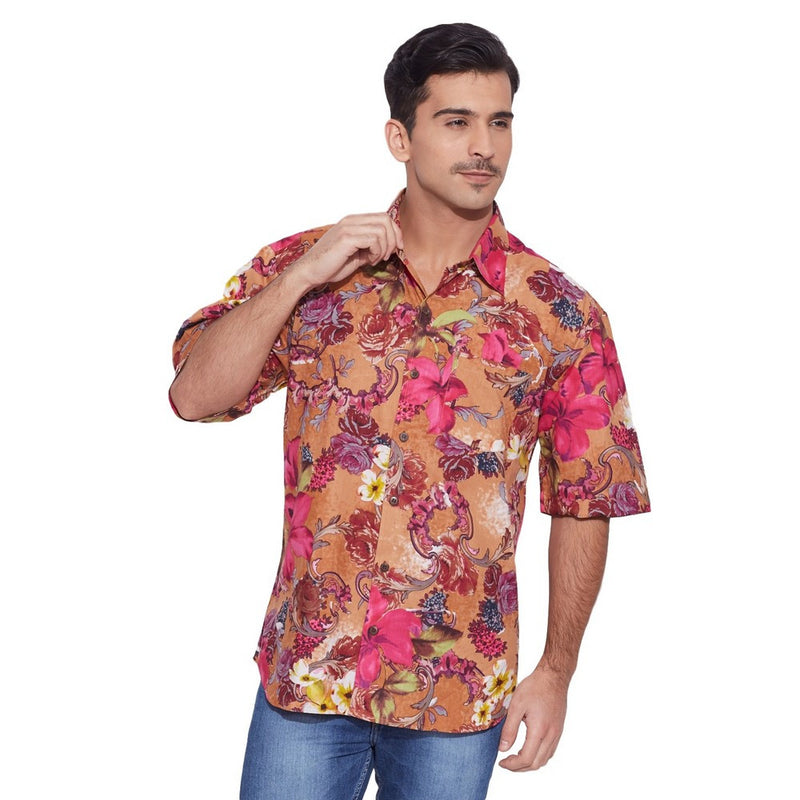 ShalinIndia Men Cotton Printed Beach Shirt Half Sleeve Front Pocket,Peach