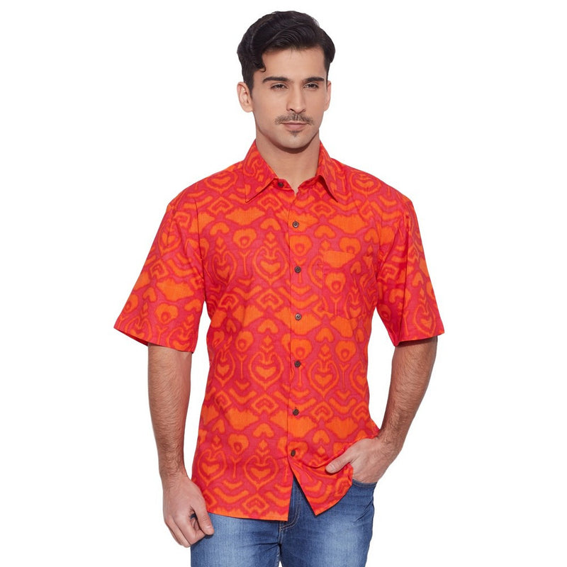 ShalinIndia Men Cotton Printed Beach Shirt Half Sleeve Front Pocket,Tomato Red