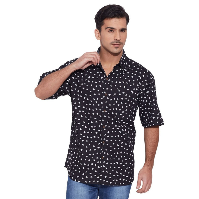 ShalinIndia Men Cotton Printed Beach Shirt Half Sleeve Front Pocket,Black