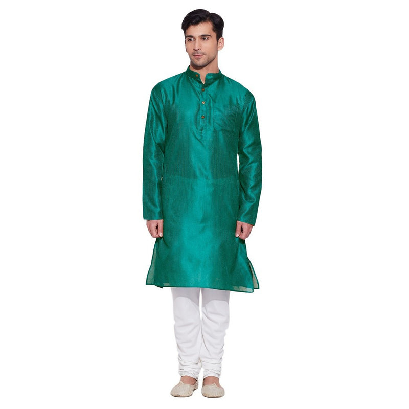 Shalininda Men Faux Silk Long Kurta,M-FLK34-1401,Teal