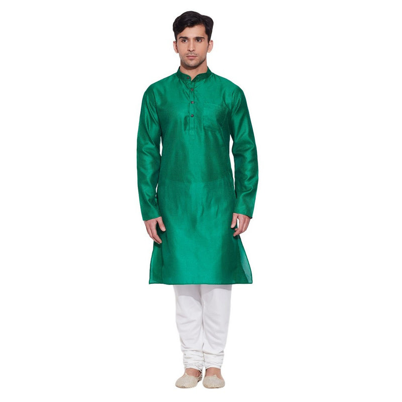 Shalininda Men Faux Silk Long Kurta,M-FLK34-1413,Green