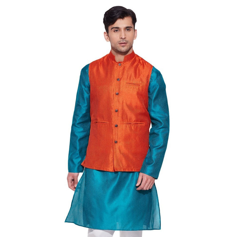 ShalinIndia Men Faux Silk Nehru Collar Jacket 3 Front Pocket,M-FNJ34-1502,Orange