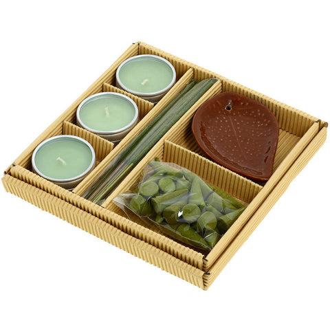 Apple Cinnamon Fragrance Gift Set with 25 Incense Cones, 25 Sticks, 3 Candles and Ceramic Leaf Incense Holder - Beautiful Gift for Any Occasion