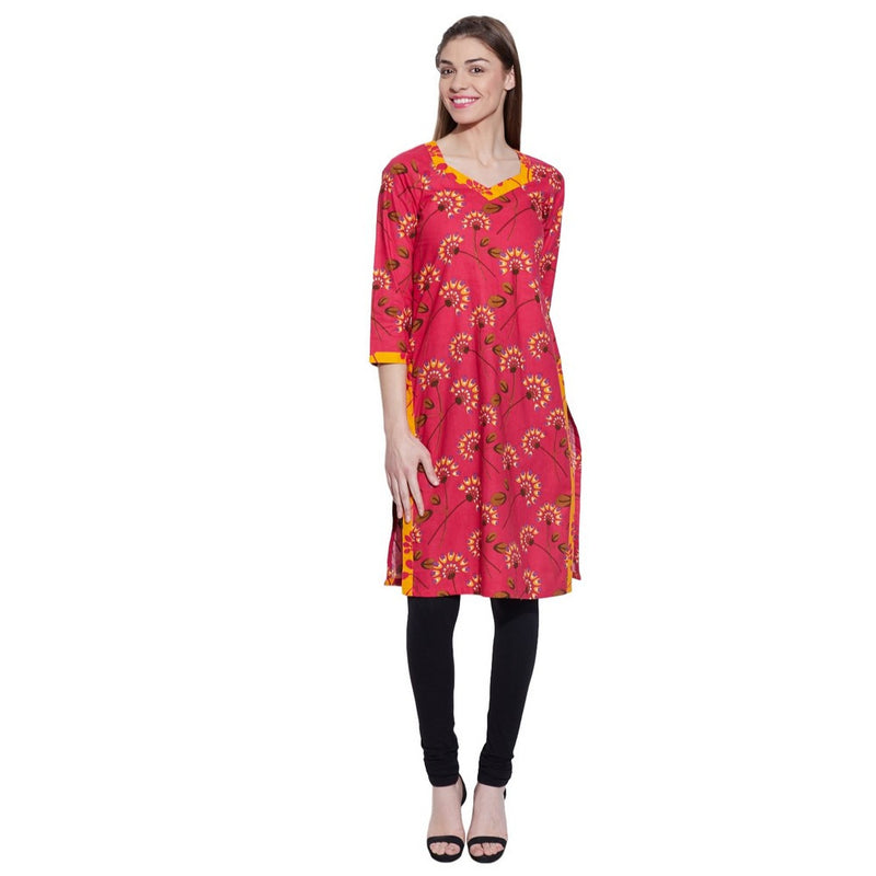 Women Cotton Printed Long Kurta Casual Dresses ,W-CLK32-1911,Pink