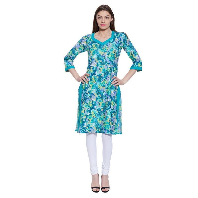 Women's Apparel Cotton Printed Long Kurta ,W-CLK32-1923,Turquoise