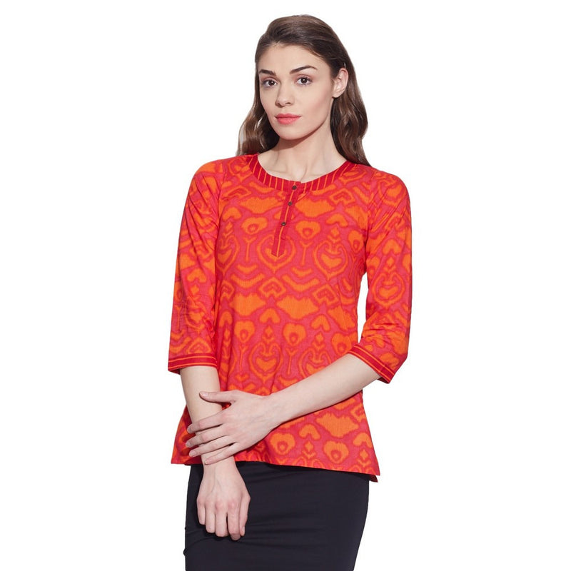 Cotton Printed Kurti Women Apparels Tops ,W-CPK32-1811,TOMATO Red