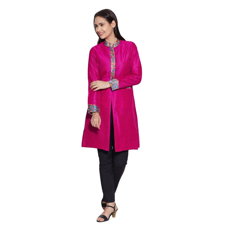 Women Apparels Faux Silk - 100% Polyester Long Jacket ,Pink,W-FLJ32-2308