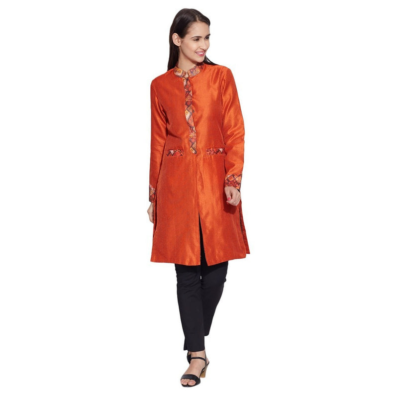 Women Apparels Faux Silk - 100% Polyester Long Jacket ,Orange,W-FLJ32-2314
