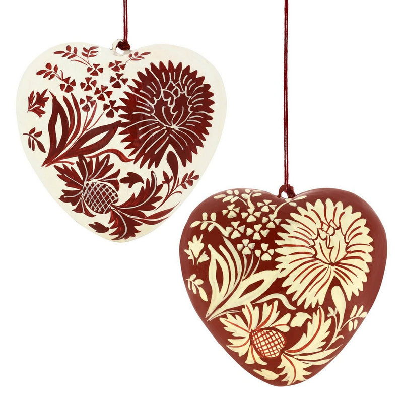 A Pair of Hearts Red and White Paper Mache Hanging Decor for Romantic Christmas
