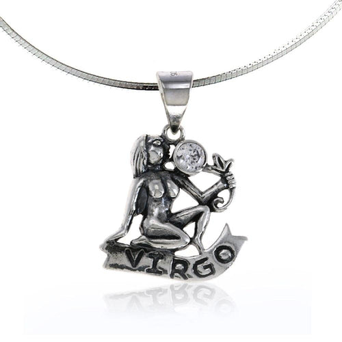 Zodiac pendant virgo necklace  birthday charms jewelry