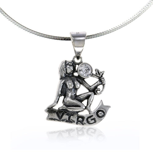 Zodiac Pendant Virgo Necklace  Silver Birthday Charms Jewelry