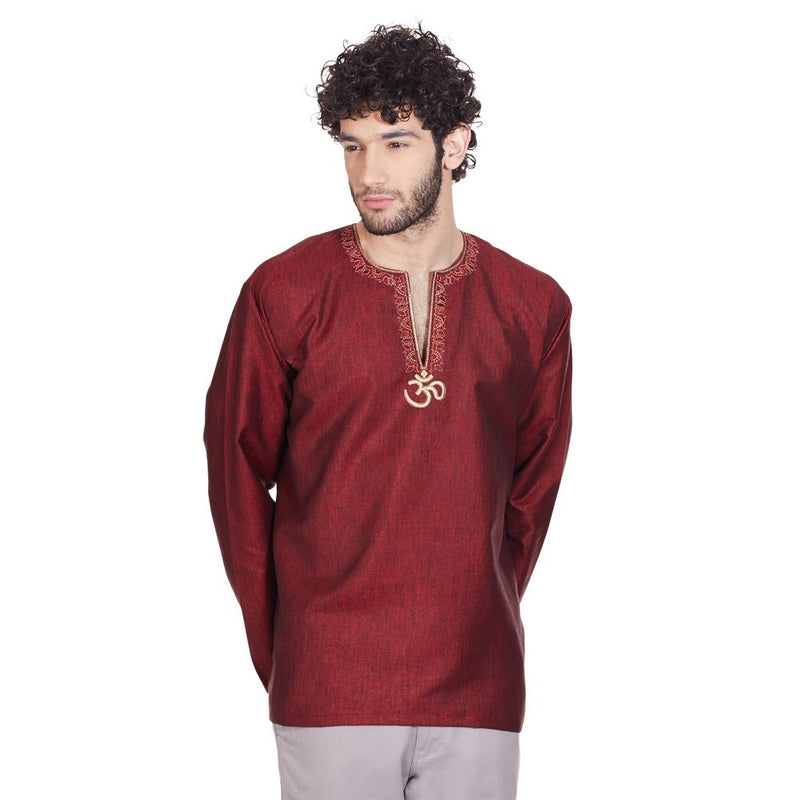 Traditional Indian Dress Loose Fit Embroidered Om Kurta Shirt For Men