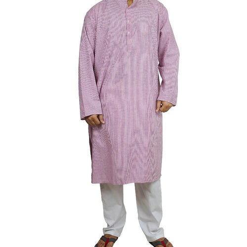 Handmade Cotton Men's Kurta Pajamas Set Blue Red Striped- Traditional Indian Costume - Perfect for Casual Summer Dress