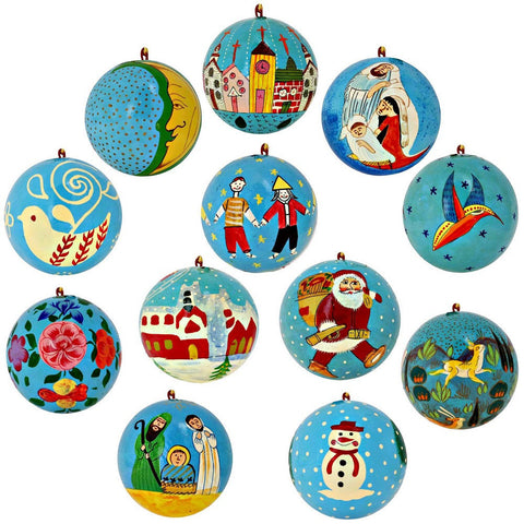Christmas Tree Ornaments Turquoise Blue Décor Paper Mache Balls Set of 12