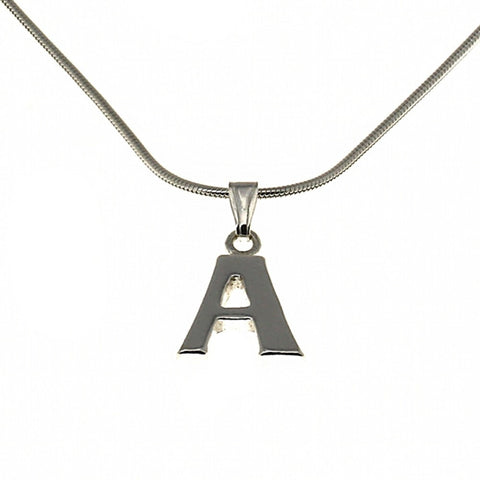 A Alphabet Charm Necklace Pendant and Chain  Silver Jewelry Indian