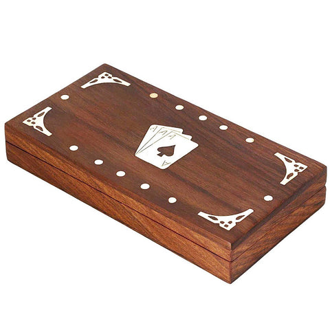3 set holder playing card box handcrafted wooden case brass inlay art India