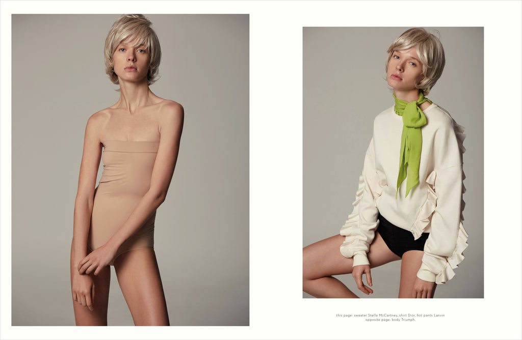 this page: sweater Stella McCartney, shirt Dior, hot pants Lanvin, opposite page: body Triumph.