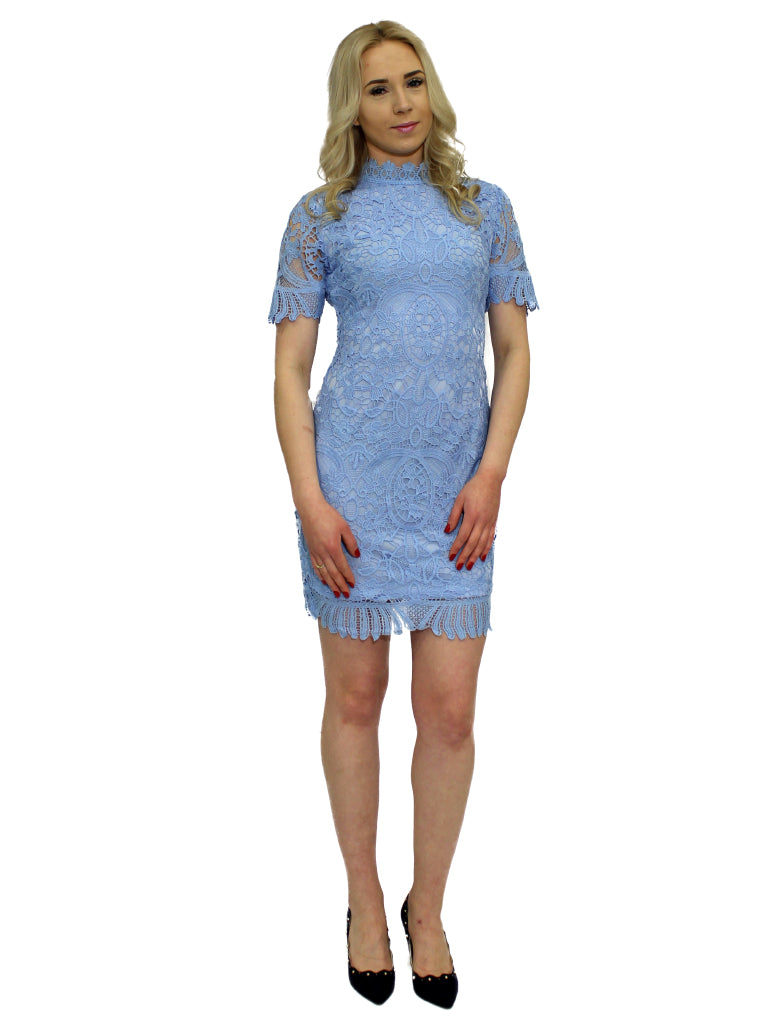 Baby blue high neck lace dress with cap sleeves