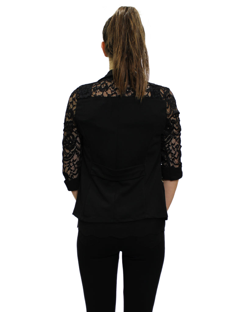 Black blazer with lace sleeves