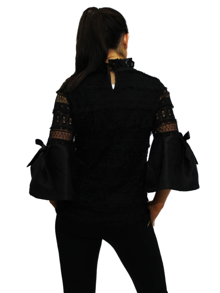 Black high neck lace top with bell sleeves