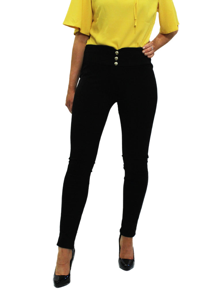 Black jeggings with button detail